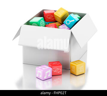 3d renderer image. Mobile applications software in white box. Isolated white background - Stock Photo