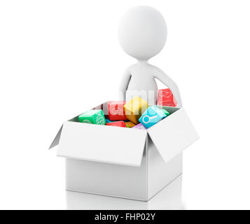 3d renderer image. White people with Mobile applications software in white box. Isolated white background - Stock Photo