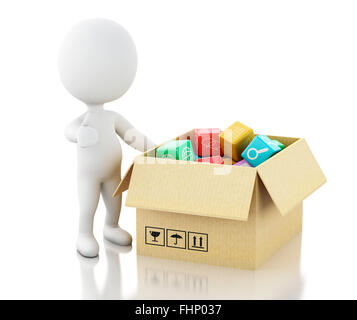 3d renderer image. White people with Mobile applications software in cardboard box. Isolated white background - Stock Photo