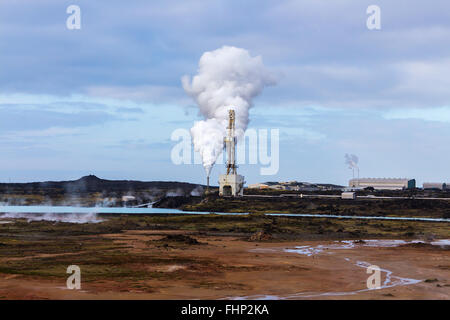 geothermal spot near Keflavik, Iceland - Stock Photo
