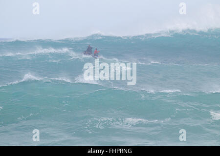 Haleiwa, Hawaii, USA. 25th February, 2016. February 25, 2016 - Water patrol keeps the water safe during the action - Stock Photo