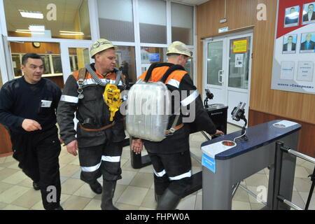 Vorkuta, Russia. 25th Feb, 2016. The administrative building of the Severnaya coal mine of the Vorkutaugol coal - Stock Photo