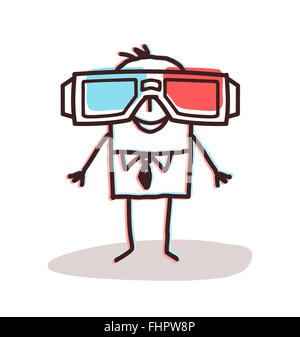 businessman with big 3D glasses - Stock Photo
