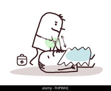 vector cartoon doctor giving first aid to a wounded man - Stock Photo