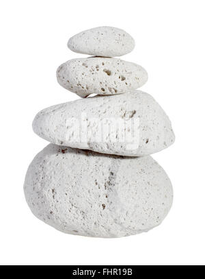 Stack of four pumice stones isolated on white background. - Stock Photo