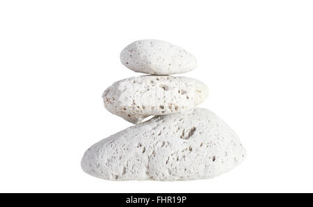 Pumice stone stack of three isolated on white background - Stock Photo