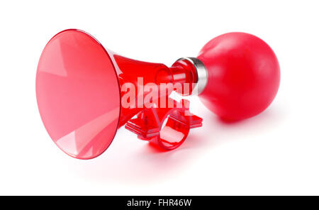 Red bicycle air horn isolated on white background - Stock Photo