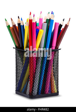 Close-Up color pencils and markers in metal glass on white background - Stock Photo