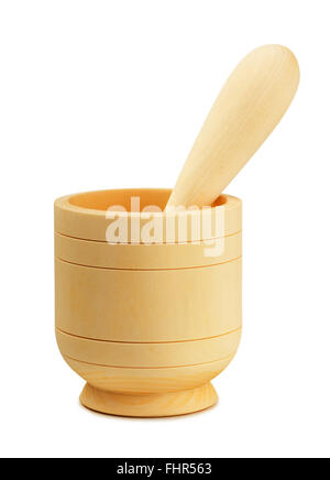 Wooden mortar and pestle isolated on white background - Stock Photo