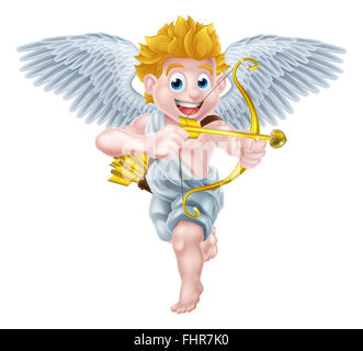 Cartoon valentines day cupid winged angel character holding his gold bow and heart arrow - Stock Photo