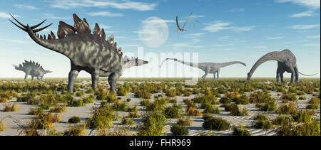 A Mixed Herd Of  Stegosaurus & Diplodocus Dinosaurs. - Stock Photo