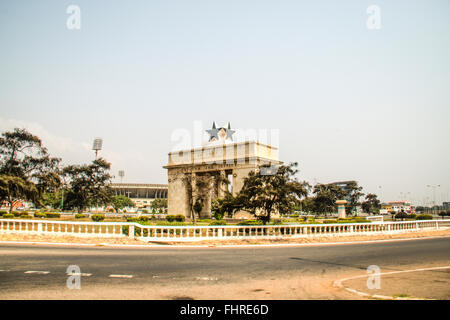 The Independence Arch of Independence Square of Accra in Ghana. Inscribed with the words 'Freedom and Justice, AD - Stock Photo