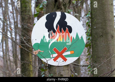 No smoking in the forest, fire danger warning sign on a tree, Hesse, Germany - Stock Photo