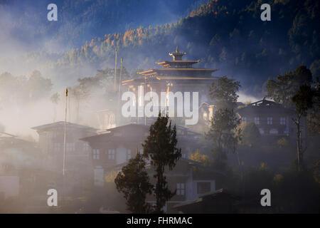 Gangtey Monastery, Dzong of Gangtey, Phobjikha Valley, Himalayas, Kingdom of Bhutan - Stock Photo
