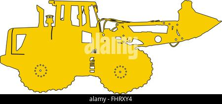 Silhouette of a heavy loaders with  ladle. Vector illustration - Stock Photo