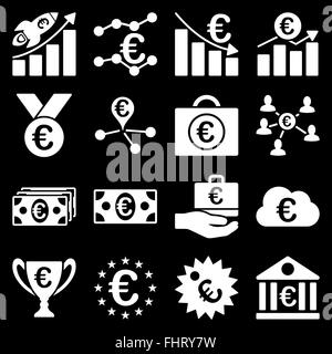 Euro banking business and service tools icons - Stock Photo