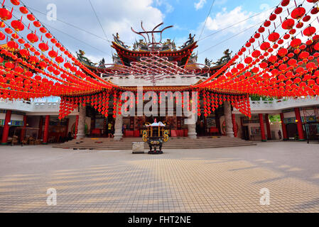 Red lanterns decorations at Thean Hou Temple in Kuala Lumpur, Malaysia - Stock Photo