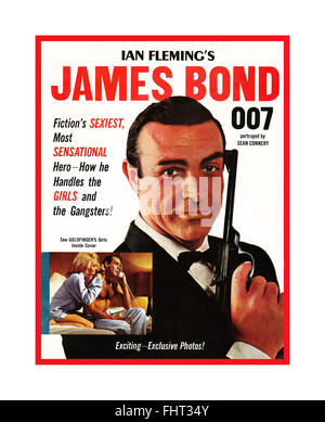1960's front cover James Bond 007 magazine featuring Sean Connery & Walther PPK gun also inset with Shirley Eaton - Stock Photo