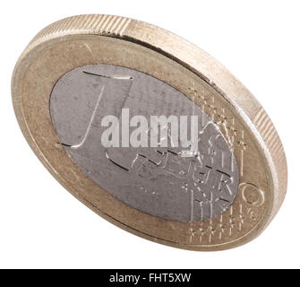 Old one euro coin isolated on a white background. File contains clipping paths. - Stock Photo