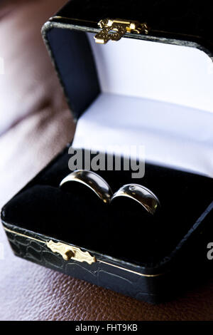 Wedding rings in luxurious box - Stock Photo