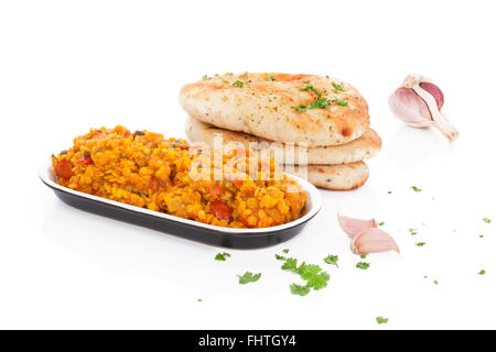 Dal with naan. - Stock Photo