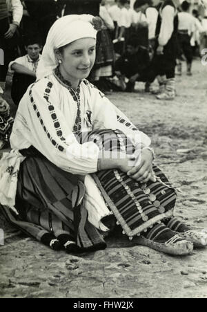 Peasant woman in traditional costume, Pleven, Bulgaria - Stock Photo