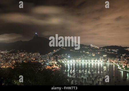 Night in Inlet Beach and Botafogo top view of the Morro da Urca - Stock Photo