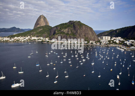 Aerial view of Pao de Acucar, Morro da Urca and part of Botafogo Bay - Stock Photo