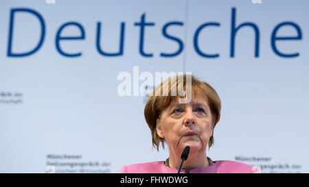 Munich, Germany. 26th Feb, 2016. German Chancellor Angela Merkel (CDU) speaks during the 'Muenchener Spitzengespraech - Stock Photo