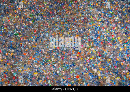 Amsterdam, The Netherlands, 26th February 2016: 100,000 plastic bottles at the installation 'Plastic Soup'. The - Stock Photo
