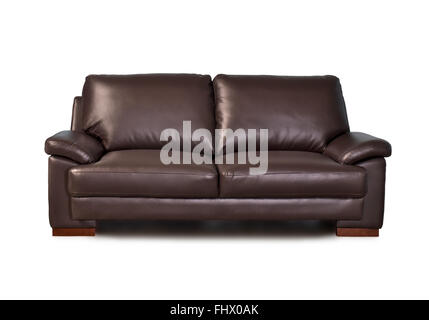 Brown leather sofa, isolated on white background - Stock Photo