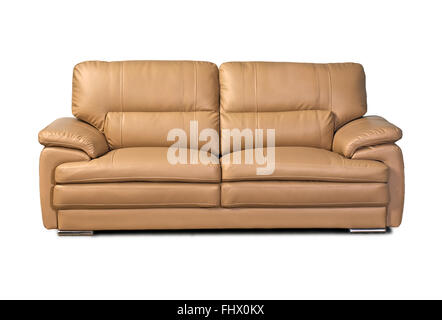Light brown leather sofa isolated on white background - Stock Photo