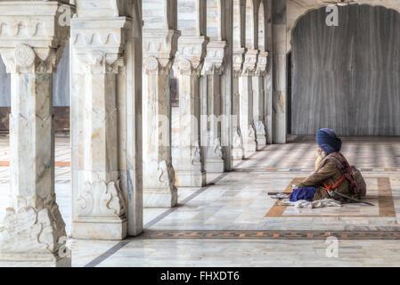 sadhu in Gurudwara Bangla Sahib, Delhi, India, Asia - Stock Photo