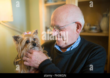 Senior man with his Yorkshire terrier at home - Stock Photo