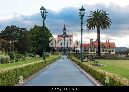 Government Gardens and Museum at sunrise, Rotorua, New Zealand - Stock Photo