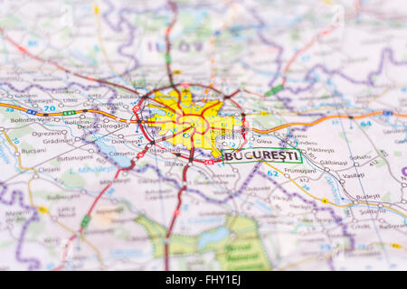 Close up of Bucharest on a map - Stock Photo