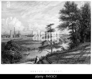 An engraving of Burton on Trent scanned at high resolution from a book printed in 1880. Believed copyright free. - Stock Photo