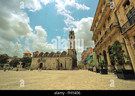 The basilica and the monastery of San Francisco de Asis or Saint Francis of Assisi. Vintage style photo - Stock Photo