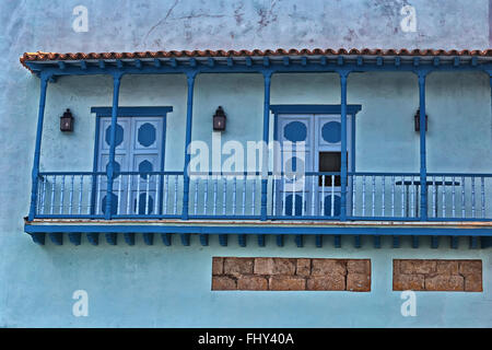 Colonial-style building blue facade and balcony in Old Havana, Cuba - Stock Photo