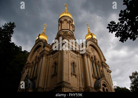 russisch-orthodoxe Kirche, Neroberg, Wiesbaden. - Stock Photo
