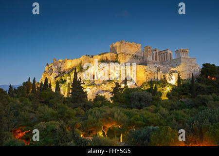 View of Acropolis from Areopagus hill. - Stock Photo