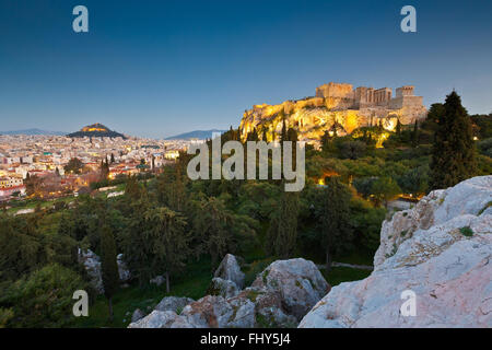 View of Acropolis and Lycabettus Hill from Areopagus hill. - Stock Photo