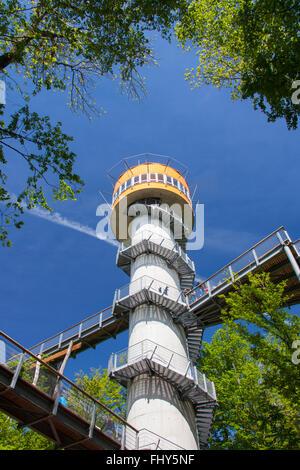 Tower of the tree-top trail / Turm des Baumkronenpfades / Baumwipfelpfad at the Hainich National Park, Thüringen, - Stock Photo