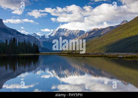 Mount Kitchener reflected in the Beauty Creek Pool near the Sunwapta River, Jasper National Park, Alberta, Canada - Stock Photo