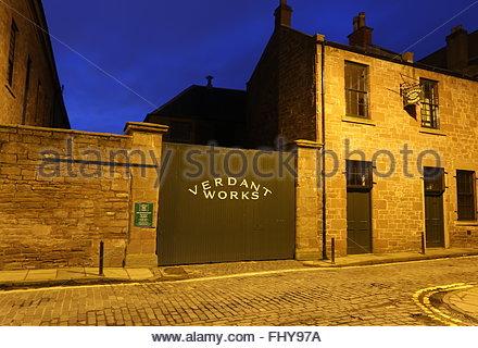 Exterior of Verdant Works Jute Mill Museum at night Dundee Scotland  December 2015 - Stock Photo