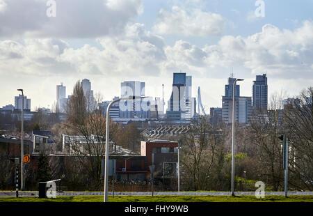 Skyline Rotterdam with in fron small houses, view from Algerabrug Krimpen aan den IJssel. - Stock Photo