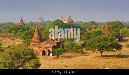 Temples and pagodas on the Central Plain of Bagan, Myanmar (Burma) - Stock Photo