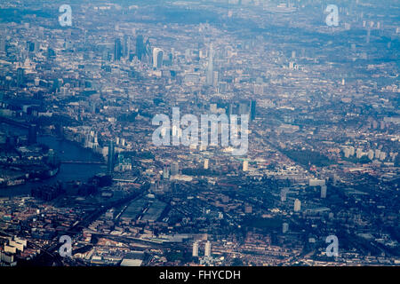 London UK. 26th February 2016. An Aerial photograph  showing the London Shard seen rising as  the capital  is bathed - Stock Photo
