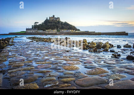 Dusk on the causeway leading to St Michaels Mount off the coast of Marazion Cornwall England UK - Stock Photo