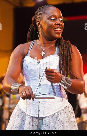 DANDA DA HORA performs with SAMBADA on the Garden Stage of the MONTEREY JAZZ FESTIVAL - Stock Photo